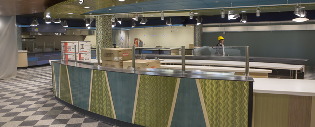 Workers are putting the final touches on the Binghamton University Marketplace, which will open at the beginning of the spring semester.