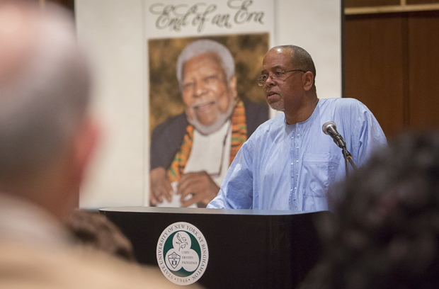 Ricardo Larémont, professor of political science and sociology, talks about Ali Al'Amin Mazrui during a celebration of Mazrui's life on Dec. 6. Mazrui, Albert Schweitzer Professor in the Humanities and director of the Institute of Global Cultural Studies, died Oct. 12.