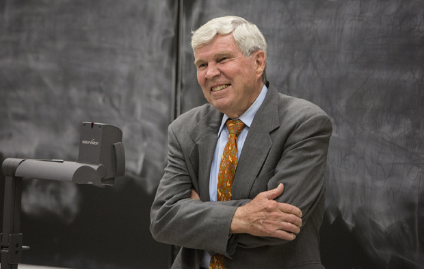 Pultizer Prize-winning historian James McPherson delivers the History Department's Ninth Annual Shriber Lecture in the Engineering Building on April 29.