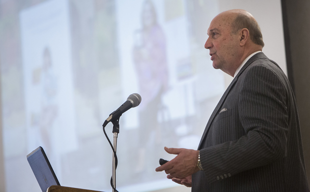 John M. Meador Jr., dean of Libraries, speaks to the University Forum during its Jan. 14 luncheon on campus.