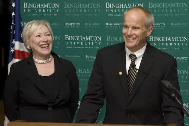 State University of New York Chancellor Nancy L. Zimpher introduces Harvey G. Stenger, Jr. as the next president of Binghamton University during a news conference held in the Anderson Center for the Performing Arts on Nov. 29. Stenger will replace President C. Peter Magrath as the University's seventh president on Jan. 1, 2012.