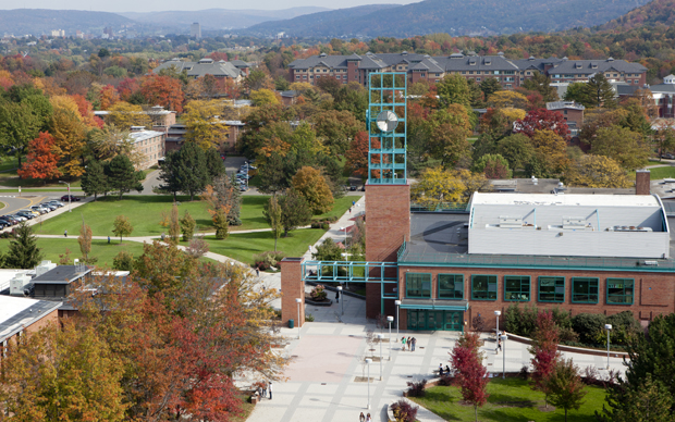 An overhead view of the Binghamton University campus.