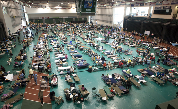 A view of the Red Cross shelter on the Events Center floor on Sept. 8. The University has helped to care for local residents evacuated in last week's flooding.