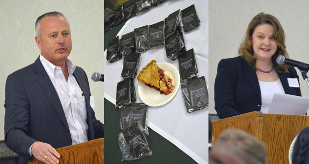 Binghamton University alumni Jim Kane '92 and Alecia Lashier '02 speak to Thomas J. Watson School of Engineering and Applied Science seniors over pie on March 14: Pi Day.