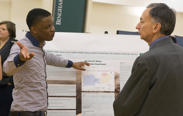 Abraham Motau, a graduate student in the Geography Department, discuses his research titled