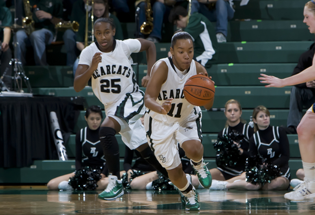 Senior guard Andrea Holmes and sophomore guard Jasbriell Swain are two of the four starters returning this season for the women's basketball team.