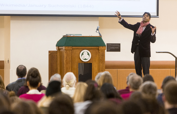Food activist and author Raj Patel delivers the Research Days keynote address in the Mandela Room on April 22.