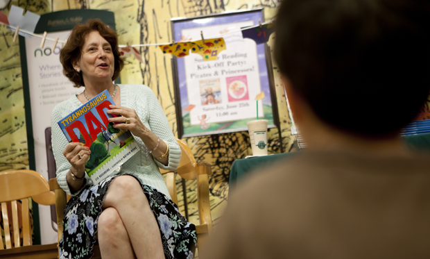English professor Liz Rosenberg reads from her new children's book <em>Tyrannosaurus Dad</em> at Barnes & Noble in Vestal on June 12.