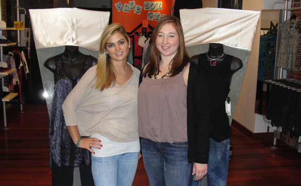 Candice Geller and Anna Bear Dallis, seniors in the School of Management, operate m.y. boutique in downtown Binghamton.