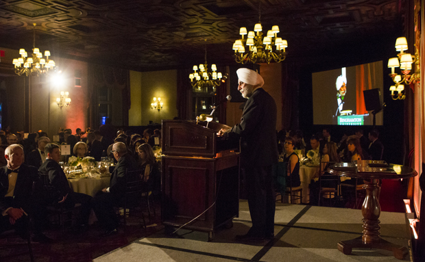 School of Management Dean Upinder Dhillon speaks at the school's Inaugural Fundraising Gala at the New York Athletic Club on March 10.
