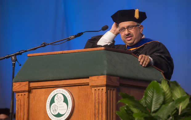 "Krishnaswami ""Hari"" Srihari, dean of the Thomas J. Watson School of Engineering and Applied Science, takes part in the school's Commencement ceremony in May in the Events Center."