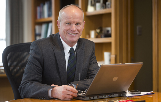 President Harvey Stenger works in his office in the Couper Administration Building.