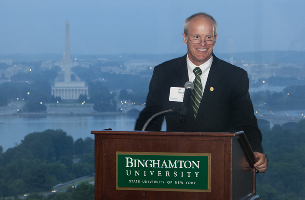 President Harvey Stenger speaks to the Alumni Association DC Metro Chapter at an event held May 23 at Top of the Town.