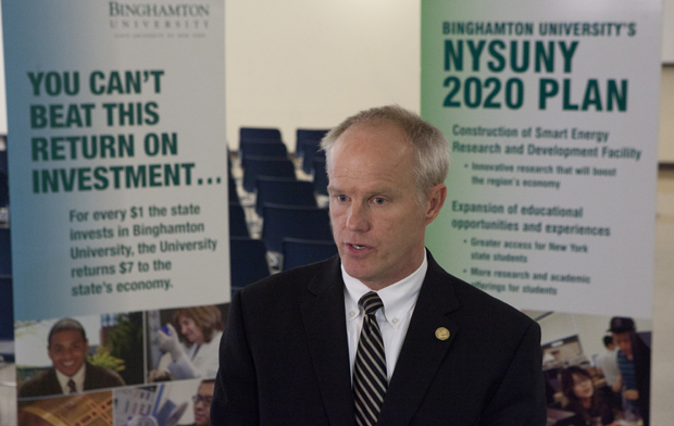 President Harvey Stenger discusses Binghamton University's NYSUNY2020 presentation after returning from Albany on April 25.