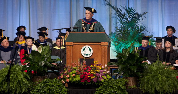 President Harvey Stenger speaks from the stage at the Events Center during a Commencement ceremony on May 20. The University held four Commencement ceremonies on May 19-20.