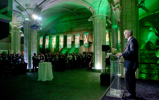 President Harvey Stenger meets alumni who live in the New York City metro area during a March 1 reception hosted by the Binghamton University Alumni Association at Guastavino's in Manhattan.