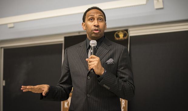 Stephen A. Smith, an ESPN television personality and sports journalist, speaks to the audience in Lecture Hall 1 on Feb. 22.