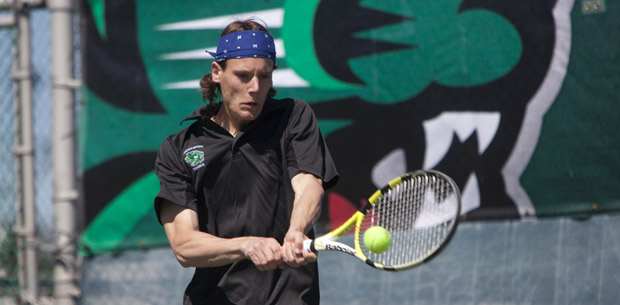 Binghamton University tennis player Sven Vloedgraven, seen here last April vs University of Maryland-Baltimore County, was named America East scholar-athlete of the year.