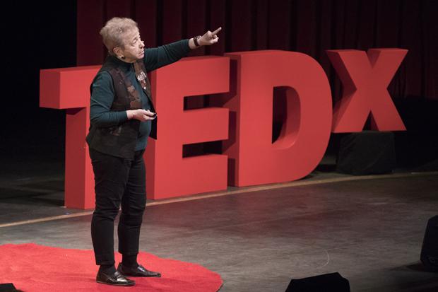 Ellyn Kaschak '65, a psychologist, author and professor, speaks at TEDxBinghamton University on March 26.
