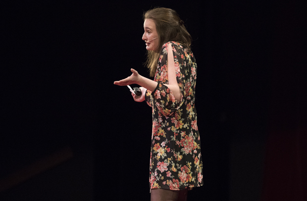 Mollie Teitelbaun, a senior majoring in philosophy and comparative literature, delivers her TEDxBinghamtonUniversity to the audience at the Osterhout Concert Theater.