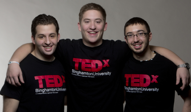TedX student organizers Lenny Simmons, left, Stephen Prosperi, center, and Jonathan Prosperi are bringing the conference to campus for the third straight year.