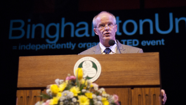 "President Harvey Stenger was the final speaker at TEDx Binghamton University on March 11. Stenger spoke on ""The Cloud-Grant University: When Higher Ed Meets High-Tech."""
