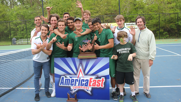 The men's tennis team celebrates after winning its ninth conference title in the past 11 years. The Bearcats beat UMBC in the championship match, 4-0.