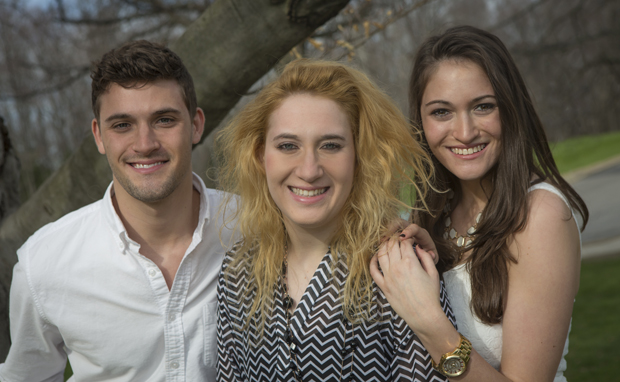 Jake, Jenna and Jacquelyn Williams, right, triplets from White Plains, all made separate decisions to attend Binghamton University.