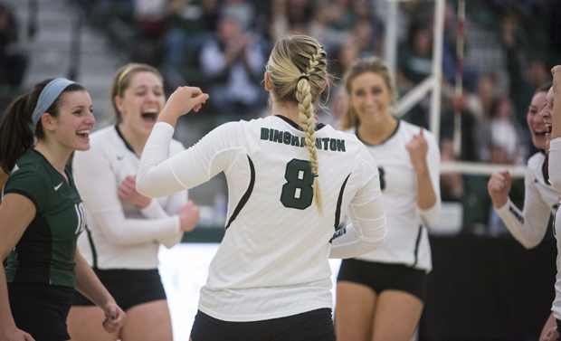 Volleyball holds off Albany in four sets