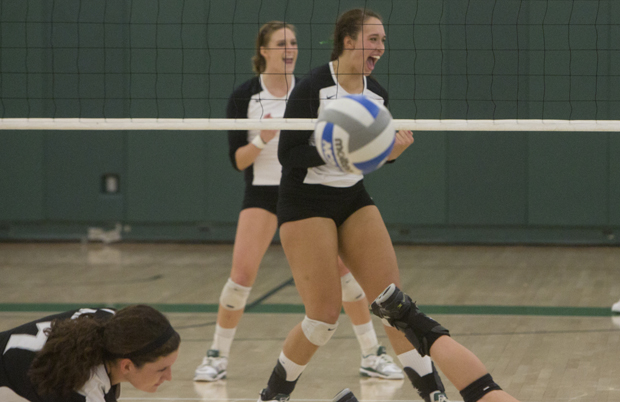 Grace Vickers, seen here celebrating during a match against Providence, was named Most Outstanding Player of the America East tournament.
