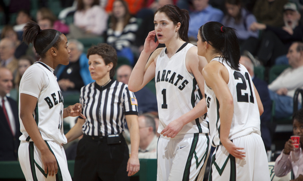 Guards Andrea Holmes, left, Orla O'Reilly and Jackie Ward, right, will lead the Bearcats against non-conference opponents such as Rider, UMass and Lehigh.