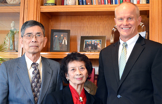Professor Emeritus Tsuming Wu and his wife, Grace Chin-Fa, are joined by Binghamton University President Harvey Stenger. The couple made a seven-figure gift to the University to support graduate students pursuing doctoral degrees in mathematics or the natural sciences.