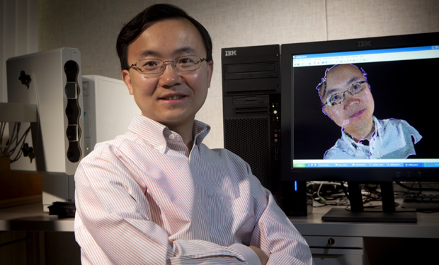 Lijun Yin, associate professor of computer science at the Watson School of Engineering and Applied Science, is seen in his laboratory in the Engineering Building.