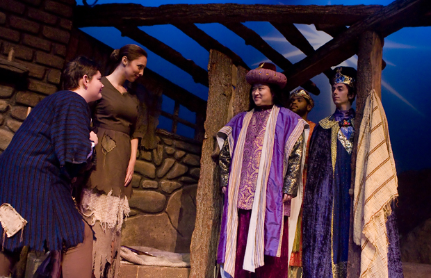 From left, 11-year-old Matthew Goodheart, playing Amahl; Hilerie Klein-Rensi, playing his mother, and the Three Wise Men: Heepyoung Oh, as Balthazar, Brister Hay as Kaspar, and Charles Hyland, as Melchior, star in