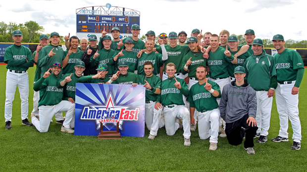 The Binghamton University baseball team celebrates after defeating Maine, 4-0, for the America East championship. The Bearcats now head to Raleigh, N.C., for the NCCA Regional with North Carolina State, Ole Miss and William and Mary.