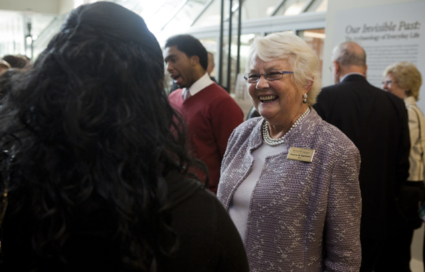 College of Community and Public Affairs Dean Patricia Ingraham greets guests last September at a reception for faculty, staff and supporters to mark the opening of the University Downtown Center one year after the building was flooded.