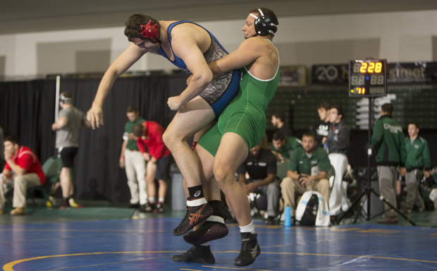 Heavyweight Tyler Deuel, seen above in the Jonathan Kaloust Bearcat Open in November, scored a pin to secure the Bearcats' victory over George Mason on Nov. 30 at the Journeymen/ASICS Northeast Duals.