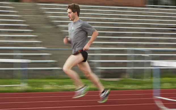 Erik van Ingen, seen here practicing last spring at the East Gym track, becomes the seventh Binghamton athlete in the school's 10-year Division I history to earn All-America honors