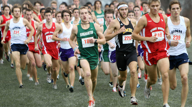 Senior Erik van Ingen, center, not only won an America East individual title last season, but also qualified for the NCAA Championships by placing seventh overall out of 244 runners at the Northeast Regional Meet.