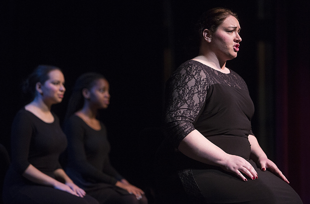 Lindsay Brown, right, Karima Jibril, center, and Christina Santa Maria are three of the vocal/opera students who will present the first act and finale of Giuseppe Verdi's