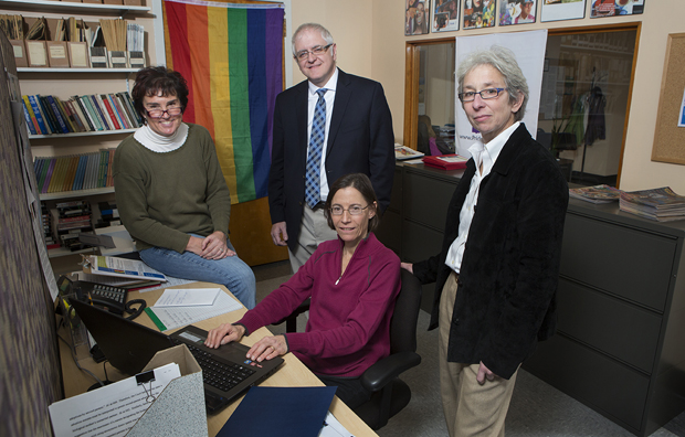 Claudia Stallman, project director of the Lesbian and Gay Family Building Project, center; Sean Massey, associate professor of women, gender and sexuality studies; Dara Silberstein, executive director of the Women, Gender and Sexuality Studies program, right; and Susan Seibold-Simpson, assistant professor in the Decker School of Nursing, are seen in the Women, Gender and Sexuality Studies program office located in the Glenn G. Bartle Library.