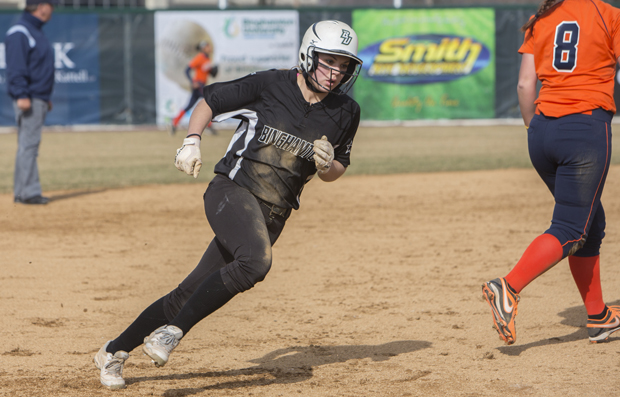 Freshman outfielder Sydney Harbaugh already has 16 stolen bases this season, seven shy of the Binghamton University program record.