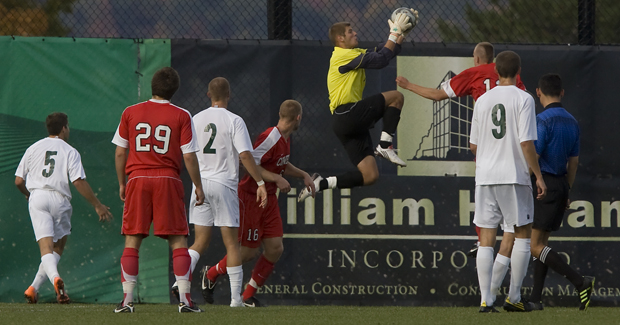 Chris Hayen stops a shot in the Sept. 26 game against Cornell. The redshirt freshman had a career-high six saves in the 0-0 tie.