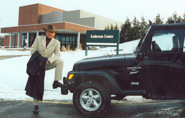Floyd Herzog stands in front of the Anderson Center for the Performing Arts in 1995.