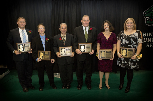 The Athletics Hall of Fame's Class of 2012, from left: Dave Schneider '00 (soccer); Jason Goldman '98 (wrestling); Michael Stark, men's tennis coach, 1987-2006; Douglas Kerr, team physician 1984-2012; Gina Bonante '99 (swimming) and Charlene Cook '98 (softball). The six, along with Andrew Magidoff '95 (tennis), were inducted into the hall on Oct. 13.