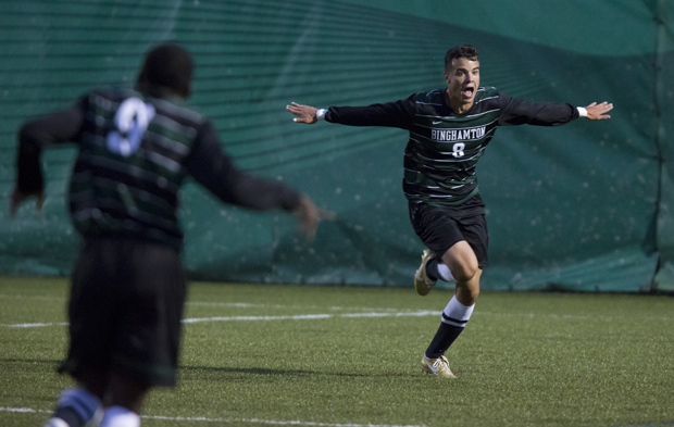 Steven Celeste celebrates the goal he scored of the home opener, as Binghamton University defeated Buffalo at the Bearcat Athletics Complex.