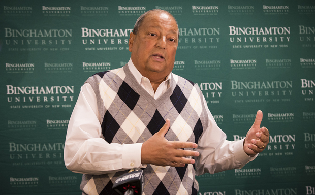 State Sen. Thomas Libous speaks to the media on Jan. 20 about the University's plans for a School of Pharmaceutical Sciences and Pharmacy. Libous was integral in gaining Gov. Andrew Cuomo's support for construction of a pharmacy school for Binghamton University.