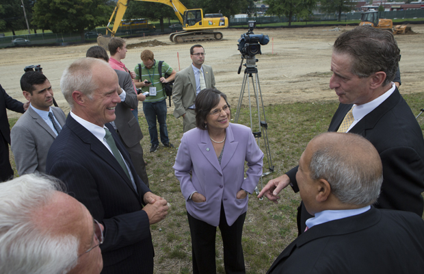 President Harvey Stenger, left, Assemblywoman Donna Lupardo, Lt. Gov. Robert J. Duffy, right, state Sen. Thomas Libous and Assemblyman Clifford Crouch talk after the groundbreaking of the Smart Energy Research and Development Facility at the Innovative Technologies Complex on Aug. 27.