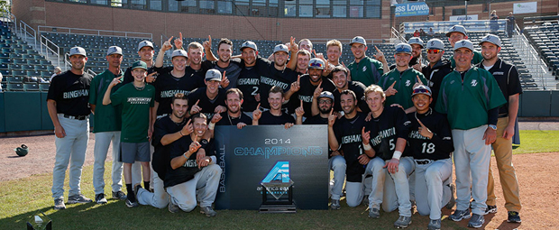 The Binghamton University baseball team celebrates after winning its second straight America East title on May 25.
