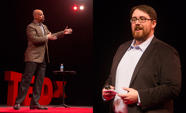 Ruben Santiago-Hudson '78, left, and Ben Eisenkop were two of the seven speakers at the fourth TEDxBinghamtonUniversity conference.